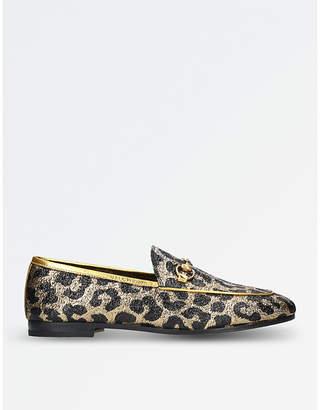 Gucci New Jordaan leopard-jacquard loafers
