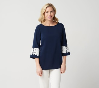 Linea By Louis Dell'olio by Louis Dell'Olio Pullover Top w/ Lace Applique on Sleeve