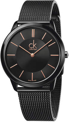 Calvin Klein minimal Men's Swiss Black Pvd Stainless Steel Mesh Bracelet Watch 40mm K3M21421