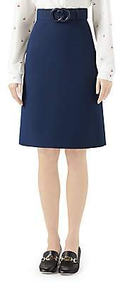 Gucci Women's GG Plexi Belted Wool & Silk A-Line Skirt