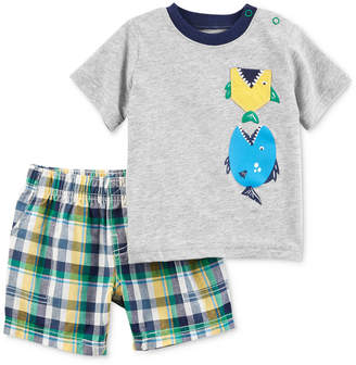 Carter's Baby Boys 2-Pc. Graphic-Print Cotton T-Shirt & Shorts Set