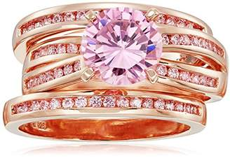 Gold Plated Sterling Silver Round Pink Cubic Zirconia 8mm Ring