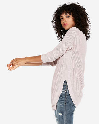 Express Petite Shaker Knit Circle Hem Sweater