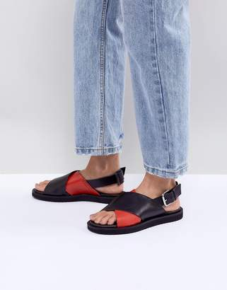 Mads Norgaard Leather Cross Front Sandals