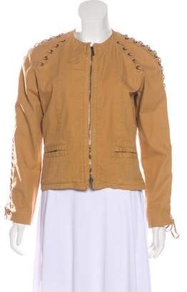 Valentino Lace-Up Twill Jacket