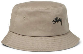 Stussy Logo-Embroidered Cotton-Canvas Bucket Hat - Men - Taupe c7a5bd35cb7