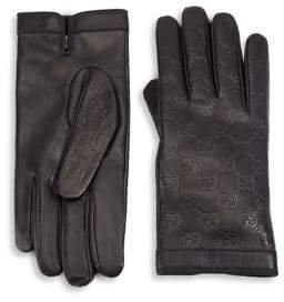 Gucci Textured Leather Gloves