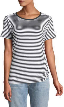 Neiman Marcus Striped Drawstring-Side Tee