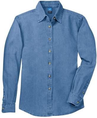 Port & Company Women's Long Sleeve Value Denim Shirt S