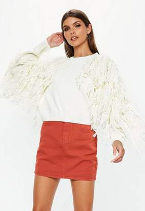 Missguided White Fringle Tassle Sleeve Sweater