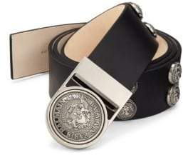Balmain Round Studded Leather Belt