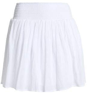 James Perse Shirred Cotton-Gauze Mini Skirt