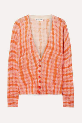 Altuzarra Natalia Checked Cotton And Silk-blend Cardigan - Orange