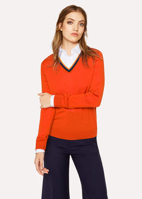 Paul Smith Women's Orange 'Artist Stripe' V-Neck Wool Sweater