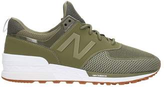 New Balance 574 Green Technical Fabric Sneakers