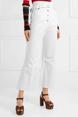 Miu Miu Belted Cotton-twill Flared Pants - White