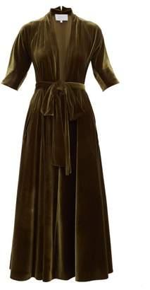 Luisa Beccaria Plunge Neck Tie Waist Velvet Midi Dress - Womens - Dark Green