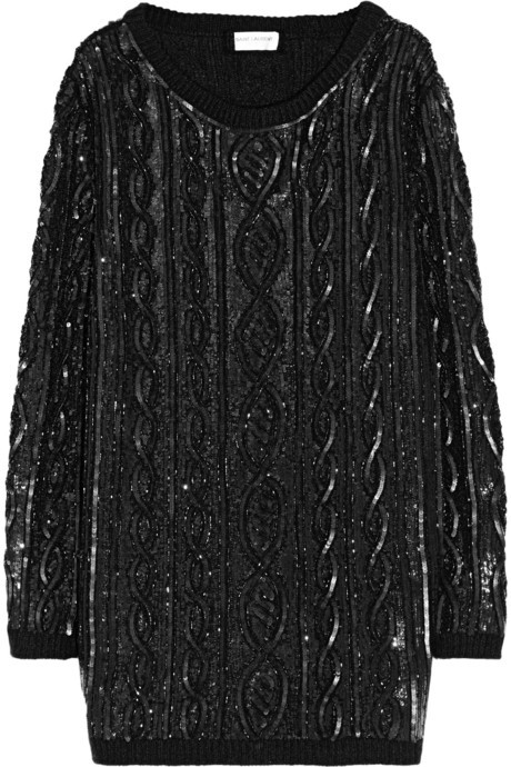 Saint Laurent Embellished cable-knit wool sweater dress
