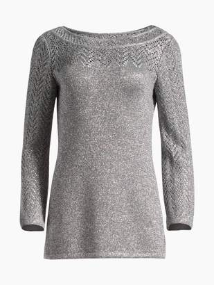 St. John Eyelet Chevron Metallic Knit Sweater