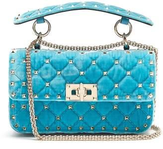 Valentino Rockstud Spike small quilted-velvet shoulder bag