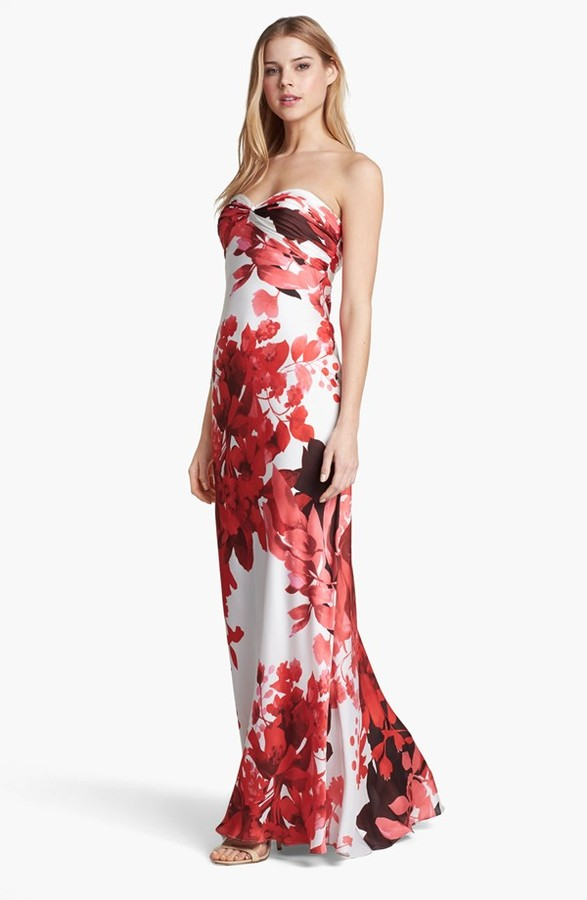 Adrianna Papell Front Twist Floral Print Gown