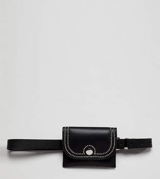 Glamorous black belt bag with buckle