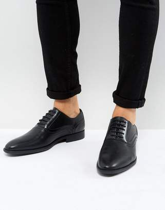 Asos Design Oxford Shoes In Black Faux Leather With Emboss Detail