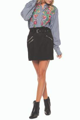 Dex Belted Zipper Mini-Skirt