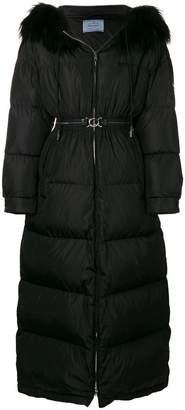 Prada long padded hooded coat