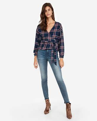 Express Plaid Flannel Surplice Wrap Tie Peplum Top