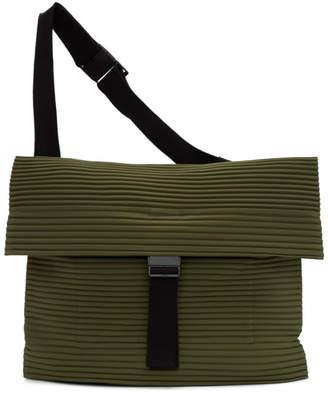 Issey Miyake Homme Plisse Kahki Pleats Flat Messenger Bag