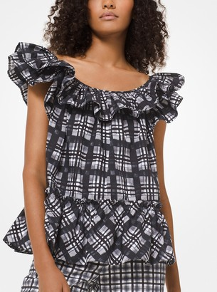 Michael Kors Painterly Madras Ruffled Poplin Shirt
