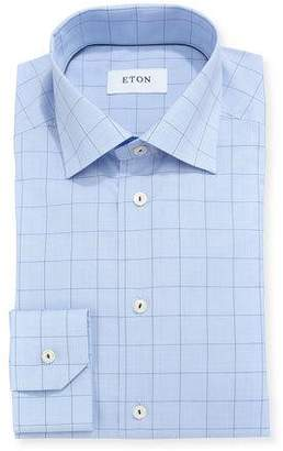 Eton Windowpane Plaid Dress Shirt