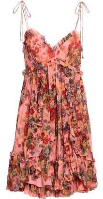 Zimmermann Pleated Floral-print Silk-georgette Mini Dress