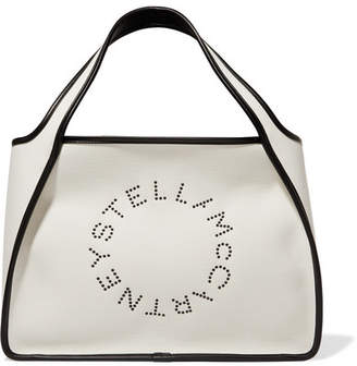 Stella McCartney Faux Leather-trimmed Eyelet-embellished Canvas Tote - White