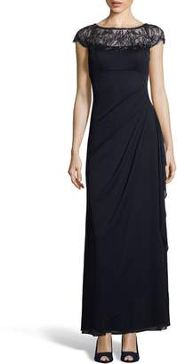 Xscape Evenings Beaded Neck Ruched Gown