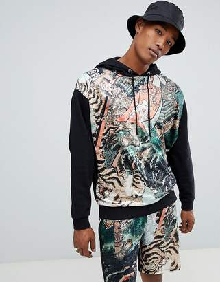 Asos DESIGN two-piece oversized hoodie with velour tiger print