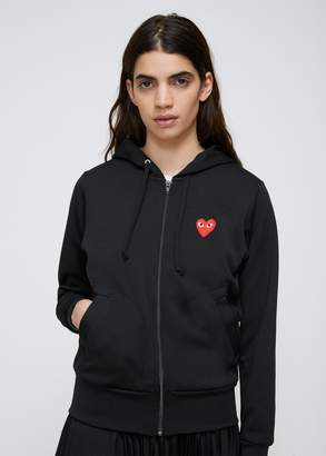 Comme des Garcons Red Heart Zip Hooded Sweatshirt