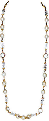 One Kings Lane Vintage Faux-Pearl & Faceted Crystal Necklace - Little Treasures