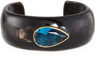 Ashley Pittman Horn Cuff Bracelet with Blue Spinel Teardrop Stone