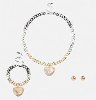 Avenue Tri-Tone Heart Pendant Jewelry Set