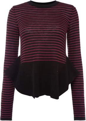 Armani Jeans Crew Neck Striped Jumper in Fuxia