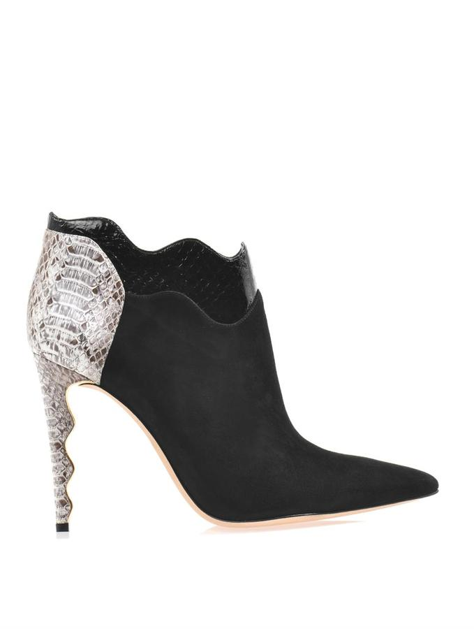 Alexandre Birman Suede and watersnake ankle boots