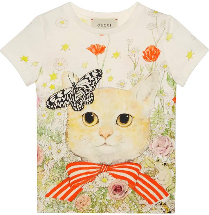Gucci Kids T-Shirt mit Katzen- und Blumen-Print