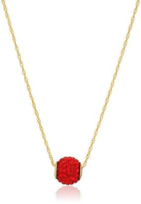 Swarovski 10K Yellow Gold Elements Ruby Crystal with 14K Gold Filled Chain Slide Ball Pendant Necklace