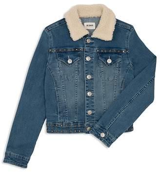 Hudson Girls' Mariah Denim Jacket with Sherpa Collar, Big Kid - 100% Exclusive
