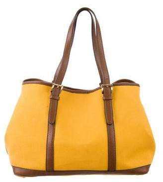 Michael Kors Leather-Trimmed Canvas Tote