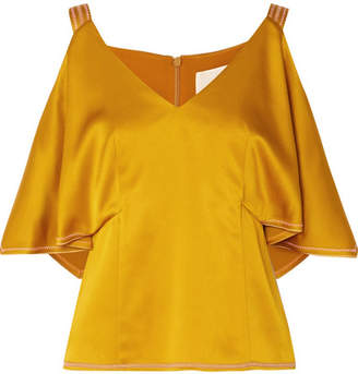 Peter Pilotto Cold-shoulder Satin Top - Mustard