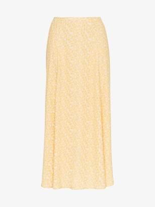 Reformation high rise floral print midi skirt