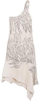 Halston Heritage - One-shoulder Asymmetric Printed Crepe Dress - White $345 thestylecure.com